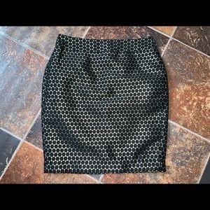 Ann Taylor | Black & Gold | Petite Pencil Skirt